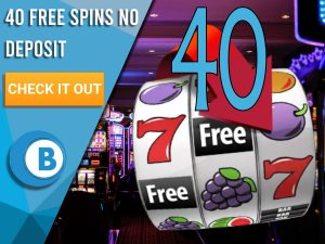 """Background of casino with slots symbol and the number 40. Blue/white square with text """"40 Free Spins No Deposit"""", CTA below and BoomtownBingo logo under it."""