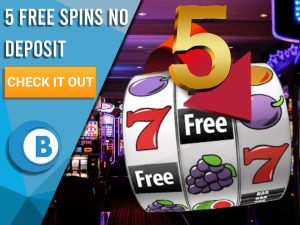 "Background of casino with slots symbol and the number 5. Blue/white square with text ""5 Free Spins No Deposit"", CTA below and BoomtownBingo logo under it."