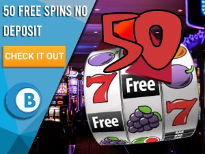 "Background of casino with slots symbol and the number 50. Blue/white square with text ""50 Free Spins No Deposit"", CTA below and BoomtownBingo logo under it."