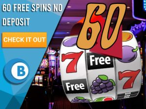 "Background of casino with slots symbol and the number 60. Blue/white square with text ""60 Free Spins No Deposit"", CTA below and BoomtownBingo logo under it."