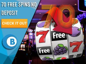 "Background of casino with slots symbol and the number 70. Blue/white square with text ""70 Free Spins No Deposit"", CTA below and BoomtownBingo logo under it."