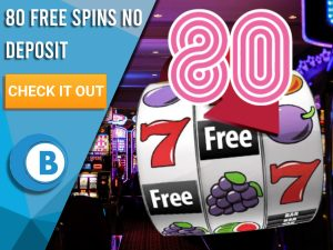 "Background of casino with slots symbol and the number 80. Blue/white square with text ""80 Free Spins No Deposit"", CTA below and BoomtownBingo logo under it."