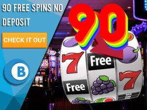 """Background of casino with slots symbol and the number 90. Blue/white square with text """"90 Free Spins No Deposit"""", CTA below and BoomtownBingo logo under it."""