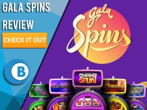 "Purple background with slot machines and Gala Spins logo. Blue/white square to left with text ""Gala Spins Review"", CTA below and Boomtown Bingo logo."