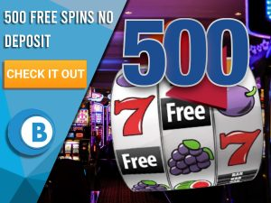 "Background of casino with slots symbol and the number 500. Blue/white square with text ""500 Free Spins No Deposit"", CTA below and BoomtownBingo logo under it."