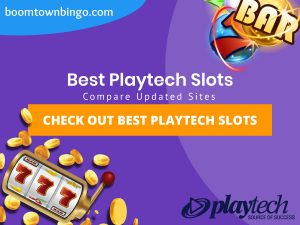 "A purple background with a white circle with 50% opacity covering half of the background. A blue oval can be seen in the top left with ""boomtownbingo.com"" inside of it. Two lines of text in white writing are displayed in the middle, with an orange box with one line of white text within it. A slot machine can be seen in the bottom left, dispensing coins around the corner. In the opposite corner, a bunch of slot signs can be seen (top right). Also, in the bottom right, the Playtech logo can be seen."