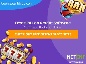 "A purple background with a white circle with 50% opacity covering half of the background. A blue oval can be seen in the top left with ""boomtownbingo.com"" inside of it. Two lines of text in white writing are displayed in the middle, with an orange box with one line of white text within it. A slot machine can be seen in the bottom left, dispensing coins around the corner. In the opposite corner, a bunch of slot signs can be seen (top right). Also, in the bottom right, the Netent logo can be seen."