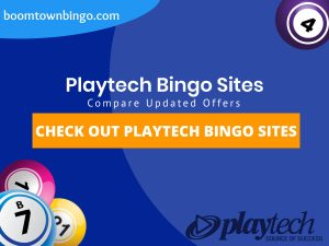 """A Blue background with a white circle with 50% opacity covering half of the background. A blue oval can be seen in the top left with """"boomtownbingo.com"""" inside of it. Two lines of text in white writing are displayed in the middle, with an orange box with one line of white text within it. 3 Bingo balls can be seen in the bottom left. In the opposite corner, a Bingo ball can be seen (top right). Also, in the bottom right, the Playtech logo can be seen."""