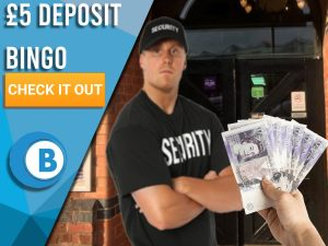 "Background of nightclub with bouncer and hand handing him a deposit. Blue/white square to left with text ""5 Deposit Bingo"", CTA below and BoomtownBingo logo under."