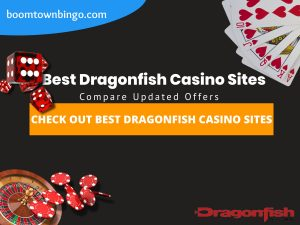 """A Black background with a white circle with 50% opacity covering half of the background. A blue oval can be seen in the top left with """"boomtownbingo.com"""" inside of it. Two lines of text in white writing are displayed in the middle, with an orange box with one line of white text within it. A roulette table can be seen in the bottom left, with casino chips coming out of it. In the opposite corner, 5 cards can be seen spread out, going from 10, J, Q, K, Ace, all in the heart suit (top right). In the middle right, 3 casino dice can be seen being rolled onto the orange box, being red and white in colour. Also, in the bottom right, the Dragonfish logo can be seen."""