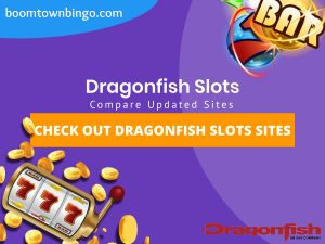 "A purple background with a white circle with 50% opacity covering half of the background. A blue oval can be seen in the top left with ""boomtownbingo.com"" inside of it. Two lines of text in white writing are displayed in the middle, with an orange box with one line of white text within it. A slot machine can be seen in the bottom left, dispensing coins around the corner. In the opposite corner, a bunch of slot signs can be seen (top right). Also, in the bottom right, the Dragonfish logo can be seen."