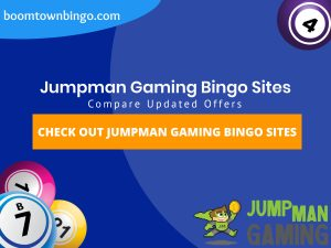 "A Blue background with a white circle with 50% opacity covering half of the background. A blue oval can be seen in the top left with ""boomtownbingo.com"" inside of it. Two lines of text in white writing are displayed in the middle, with an orange box with one line of white text within it. 3 Bingo balls can be seen in the bottom left. In the opposite corner, a Bingo ball can be seen (top right). Also, in the bottom right, the Jumpman Gaming logo can be seen."