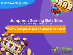 "A purple background with a white circle with 50% opacity covering half of the background. A blue oval can be seen in the top left with ""boomtownbingo.com"" inside of it. Two lines of text in white writing are displayed in the middle, with an orange box with one line of white text within it. A slot machine can be seen in the bottom left, dispensing coins around the corner. In the opposite corner, a bunch of slot signs can be seen (top right). Also, in the bottom right, the Jumpman Gaming logo can be seen."
