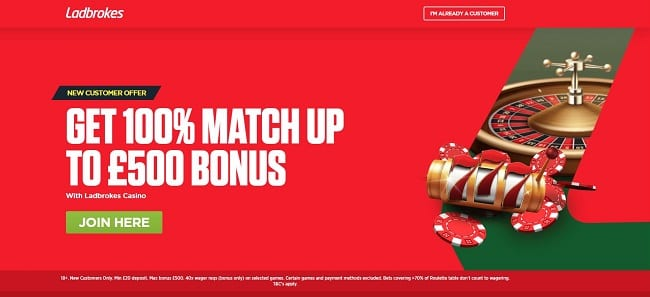 Ladbrokes Roulette Review – 100% Bonus up to £500