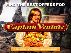 """A Background of a cave with a pirate in the centre holding treasure, with the sun shining on him. The logo for """"Captain Venture"""" can be seen."""