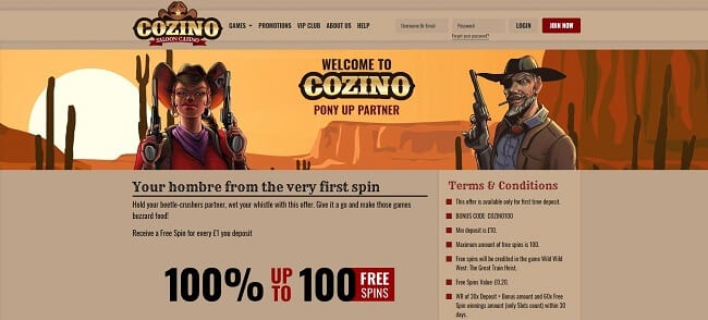 Cozino Review – Get Up to 100 Free Spins