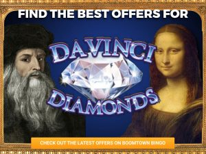 Background is blue, with a border from a painting. A painting of Da Vinci and Mona Lisa can be seen either side of the logo for Da Vinci Diamonds.