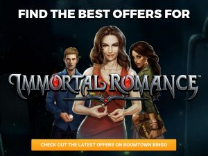 A dark background with Gravestones present. 3 people are stood in the centre with the lady in the centre holding a rose. The logo for Immortal Romance can be seen in the centre, with a CTA beneath it.