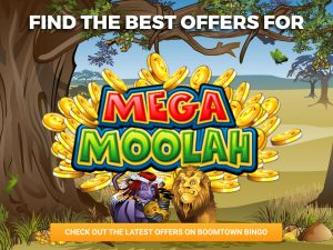 Background of a safari, with a lion and monkey beneath the logo of Mega Moolah.