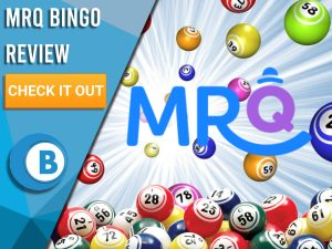 "White background with bingo balls and MrQ Bingo Logo. Blue/white square to left with text ""MrQ Bingo Review"", CTA below and Boomtown Bingo logo."