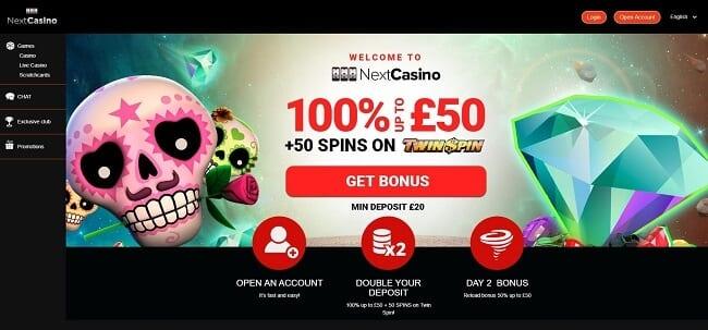 Next Casino Review – 100% Bonus up to £50 + 50 Free Spins