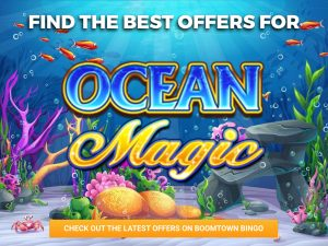 Background is the ocean, with coral and rocks seen on the seabed. Logo of Ocean Magic can be seen in the centre.