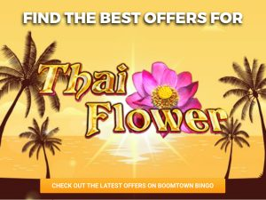 Background is sun rising on the sea, creating a orange sky. The logo for Thai Flower can be seen in the centre.