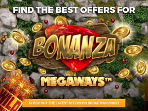 Background shows rocks, with coins. The logo for Bonanza is shown in the middle.