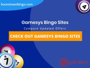 """A Blue background with a white circle with 50% opacity covering half of the background. A blue oval can be seen in the top left with """"boomtownbingo.com"""" inside of it. Two lines of text in white writing are displayed in the middle, with an orange box with one line of white text within it. 3 Bingo balls can be seen in the bottom left. In the opposite corner, a Bingo ball can be seen (top right). Also, in the bottom right, the Gamesys logo can be seen."""