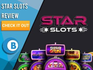 """Black Background with slot machines and Star Slots logo. Blue/white square to left with text """"Star Slots Review"""", CTA and Boomtown Bingo logo."""