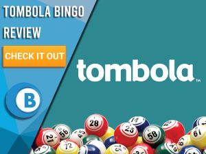 """Turquoise background with bingo balls and Tombola logo. Blue/white square to left with text """"Tombola Bingo Review"""", CTA below and Boomtown Bingo logo."""