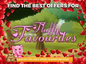 "Background of park. Two fluffy friends are sat beneath the logo for ""Fluffy Favourites"", with a love heart border around it."