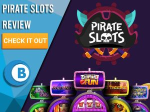 """Dark Purple background with slot machines and Pirate Slots logo. Blue/white square to left with text """"Pirate Slots Review"""", CTA below and Boomtown Bingo logo."""