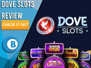 """Black background with slot machines and Dove Slots logo. Blue/white square to left with text """"Dove Slots Review"""", CTA below and Boomtown Bingo."""