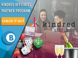 "Background of people working with champagne, casino material and Kindred Affiliates Logo. Blue/white background to left with text ""Kindred Affiliates Partner Program"", CTA below that and BoomtownBingo logo underneath that."