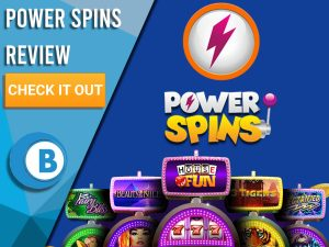 "Blue background with slot machines and Power Spins logo. Blue/white square to left with text ""Power Spins Review"", CTA below and Boomtown Bingo logo."