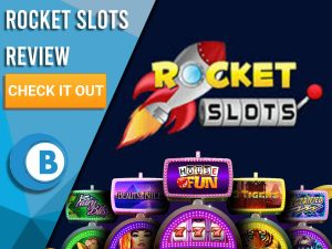 "Black Background with slot machines and Rocket Slots logo. Blue/white square to left with text ""Rocket Slots Review"", CTA and Boomtown Bingo logo."