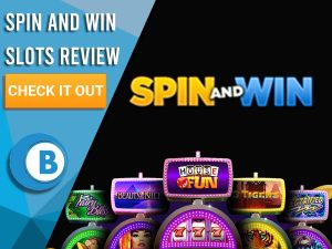 """Black Background with slot machines and Spin and Win Slots logo. Blue/white square to left with text """"Spin and Win Slots Review"""", CTA and Boomtown Bingo logo."""