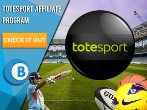 "Background of football pitch with 3 sports balls, a cricket player and logo for Totesport. Blue/white square to left with text ""Totesport Affiliate Program"", CTA below it and BoomtownBingo logo underneath it."