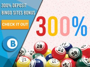 "Pink background with bingo balls and 300% written. Blue/white square with text to left ""300% Deposit Bingo Sites Bonus"", CTA below and Boomtown Bingo logo beneath that."