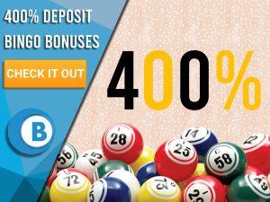 "Orange background with bingo balls and 400% written out. Blue/white square with text to left ""400 Deposit Bingo Bonuses"", CTA below and Boomtown Bingo logo beneath that."