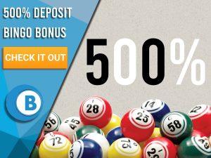 "Grey background with bingo balls with 500% symbol. Blue/white square with text to left ""500 Deposit Bingo Bonus"", CTA below and Boomtown Bingo logo beneath."