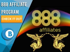 "Black background with rainbows, two golden angels, 888 Affiliates logo is present. Blue/white square with text ""888 Affiliate Program"", CTA beneath that and BoomtownBingo logo under that."