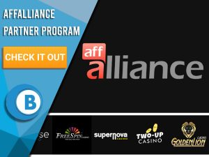 "Black background with AffAlliance sites and AffAlliance Logo. Blue/white square to left with text ""AffAlliance Partner Program"", CTA below and BoomtownBingo logo."