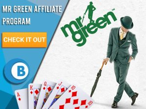 """White background with hand of cards, Mr Green and Mr Green Logo. Blue/white square with text """"Mr Green Affiliate Program"""", CTA below it and BoomtownBingo logo."""