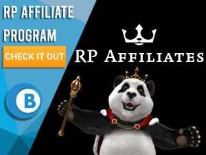 """Black background with the Royal Panda and RP Affiliates logo. Blue/white square on left with text """"RP Affiliate Program"""", CTA under that and BoomtownBingo logo under that."""
