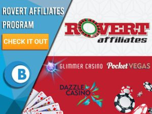 "Background of white and red with cards, poker chips, Poker Vegas, Dazzle Casino, Glimmer Casino and Rovert Affiliates logo. Blue/white square to left with text ""Rovert Affiliates Program"", CTA below and BoomtownBingo logo under that."