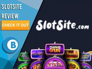 """Black Background with slot machines and SlotSite logo. Blue/white square to left with text """"SlotSite Review"""", CTA and Boomtown Bingo logo."""