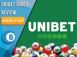 """Green background with bingo balls and Unibet logo. Blue/white square with text to left """"Unibet Bingo Review"""", CTA below and Boomtown Bingo logo."""