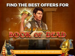 """The background is a pyramid hall, with a man holding the book of the dead in his hands. The logo for """"Book of Dead"""" with text above saying """"find the best offers""""."""
